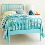 Aqua Blue Spindle Jenny Lind Bed