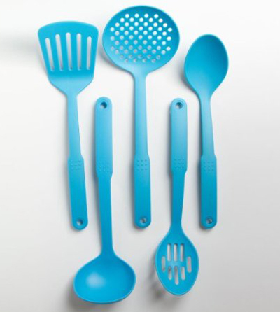Cook's Corner 5-Piece Nylon Kitchen Utensil Set in Aqua