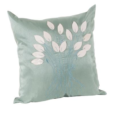 Leaf Design Aqua Decorative Throw Pillow Everything Turquoise