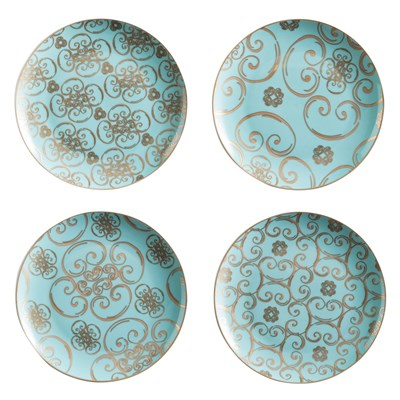 Rosanna Arabesque Appetizer Plate Set of 4  sc 1 st  Everything Turquoise & Dinnerware   Everything Turquoise   Page 13