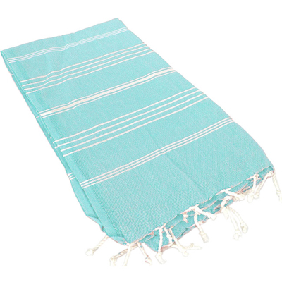 Turkish Striped Aqua Fouta Towel