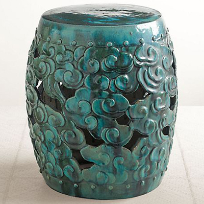 Turquoise Cloud Garden Stool Everything Turquoise