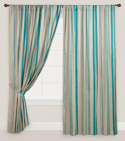 Blue Striped Lined Curtain Everything Turquoise