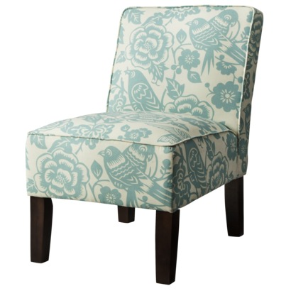 Burke Blue Floral Armless Slipper Chair | Everything Turquoise