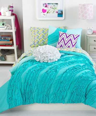 Ella Teal Ruffle Comforter Set Everything Turquoise