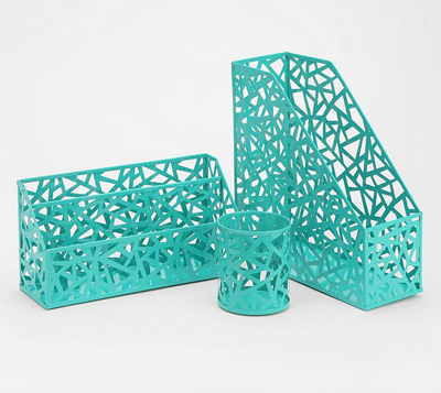 Beautiful Geo Cutout Turquoise Office Accessories