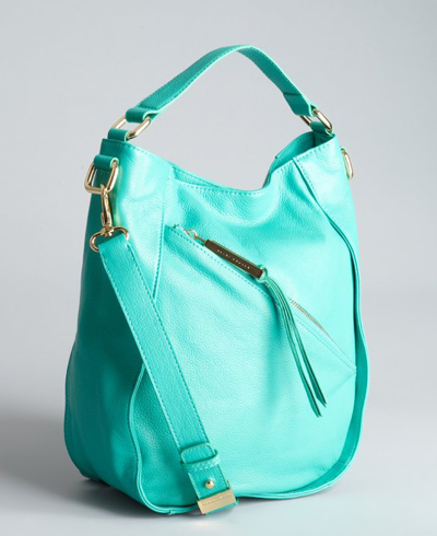 Turquoise Pebbled Leather 'Izzy' Crossbody Tote