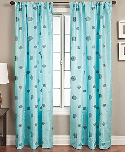 colton faux-silk rod-pocket aqua curtain panel | everything turquoise