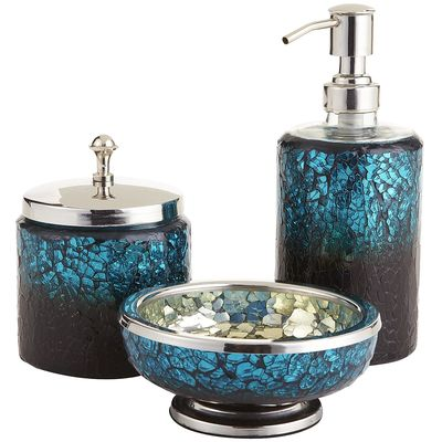 Peacock mosaic bath accessories everything turquoise for Blue and silver bathroom sets