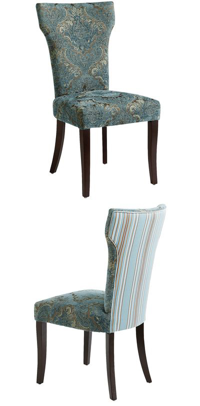 Teal Damask Carmilla Dining Chair
