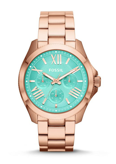 fossil cecile watch in rosegold aqua everything turquoise. Black Bedroom Furniture Sets. Home Design Ideas