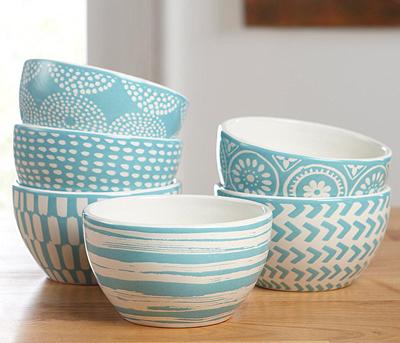 Blue Confetti Accent Bowls