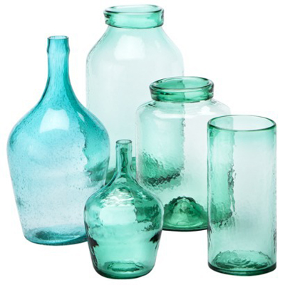 Green Wavy Glass Vase Collection
