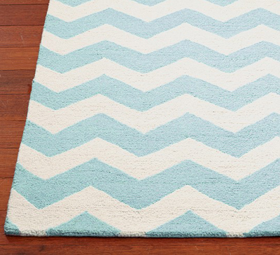 Aqua And White Chevron Wool Rug