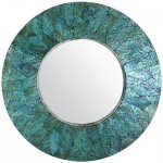 Turquoise Mother-of-Pearl Round Mirror