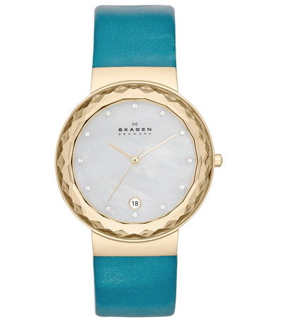 Skagen Denmark Teal Leather Strap Watch
