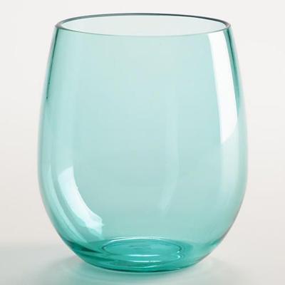 aqua acrylic stemless wine glasses - Plastic Stemless Wine Glasses