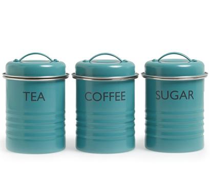 Enamel Tea Coffee Sugar Storage Canisters