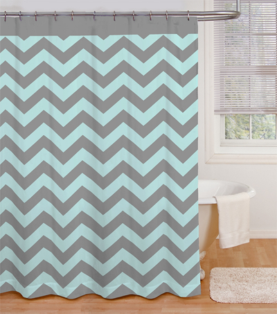 Exceptional Ryder Shower Curtain In Aqua/Grey