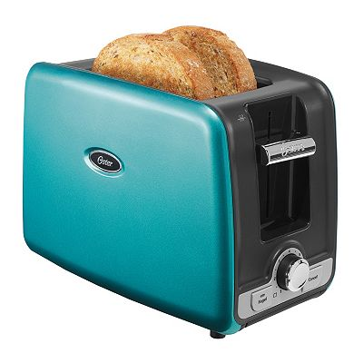 Turquoise Oster 2-Slice Toaster with Retractable Cord