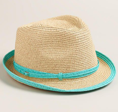 Natural Fedora Hat with Turquoise Piping