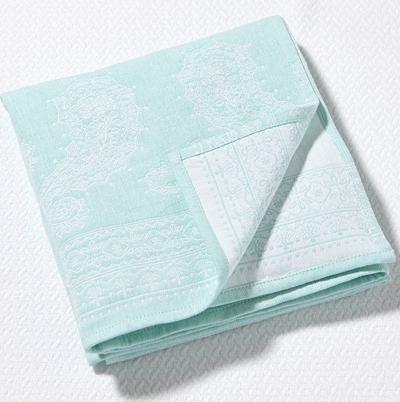 Aqua Paisley Stroller Blanket