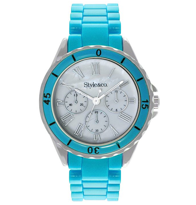 Cyan Plastic Bracelet Watch