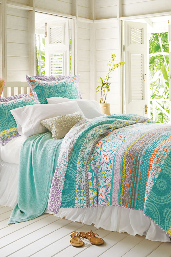 Vintage The Positano Bedding Collection from Soft Surroundings is an exotic mix of color and pattern Banded with an assortment of tile motifs from Spain Morocco
