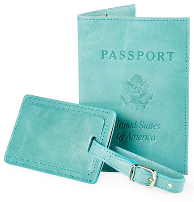 Aqua Leather Passport/Luggage Tag