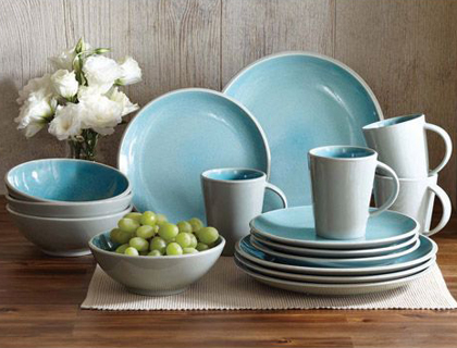 Better Homes and Gardens Aqua 16 Piece Dinnerware Set Everything