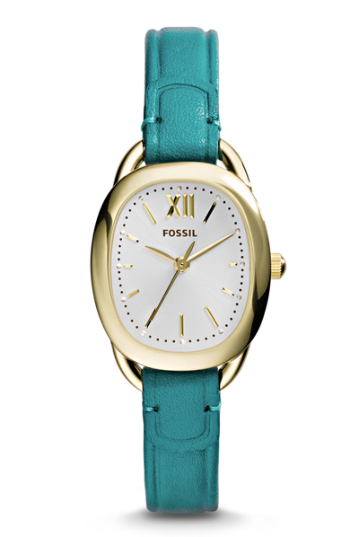 Turquoise Fossil Sculptor Three-Hand Leather Watch