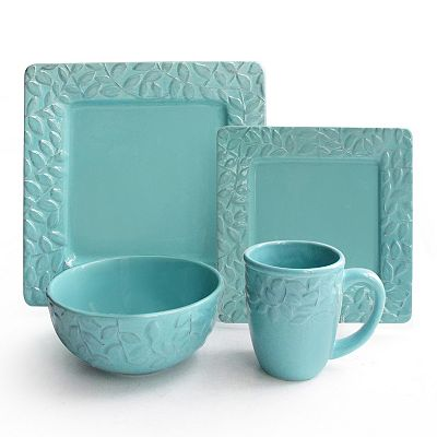 Square Dinnerware Set  sc 1 st  Everything Turquoise & Waverly Be Leaf Me 16-pc. Square Dinnerware Set | Everything Turquoise