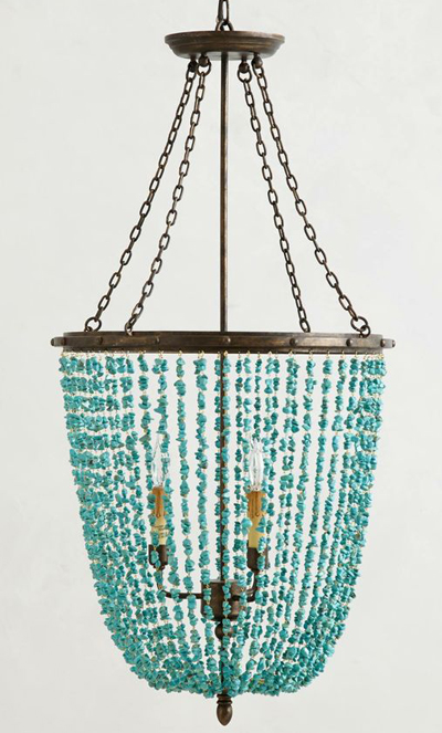 Turquoise Rivulets Chandelier
