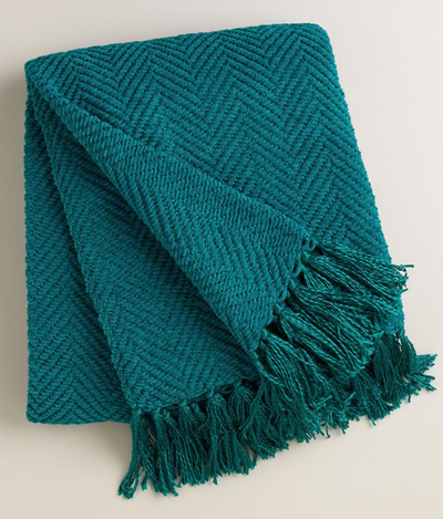 Blue Chunky Chenille Throw With Tels