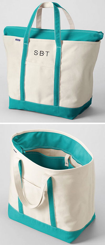 Lands' End Zip Top Canvas Tote Bag | Everything Turquoise