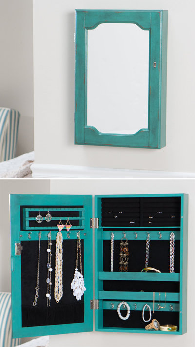 Wall Mount Mirrored Locking Jewelry Armoire
