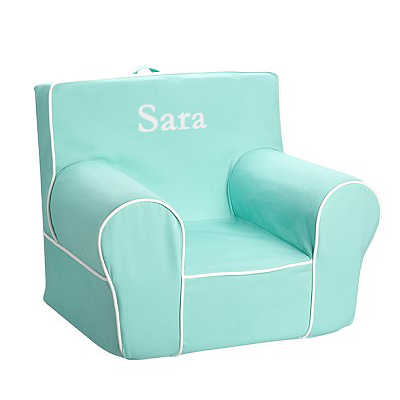 Aqua With White Piping Anywhere Chair
