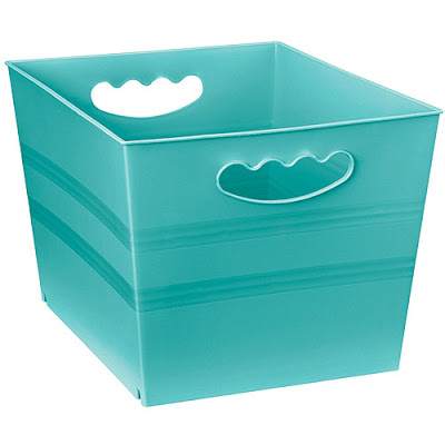 Turquoise stacking bin set of 6 everything turquoise for Turquoise bathroom bin