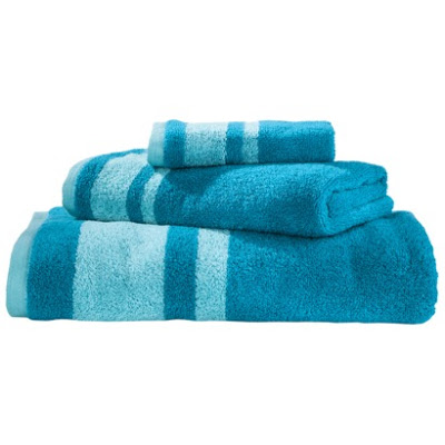 Stripe bath towel set in turquoise everything turquoise - Beach themed bathroom towel sets ...