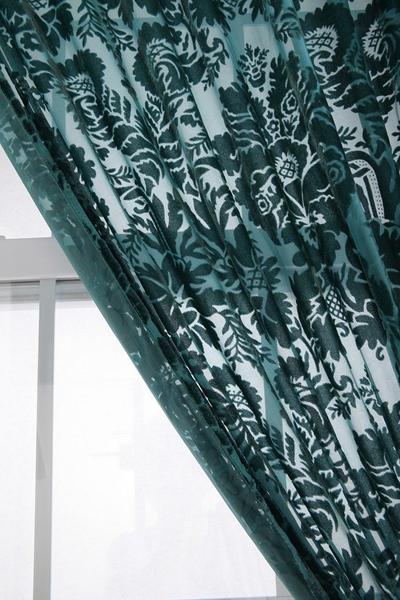 Damask Velvet Burnout Curtain Everything Turquoise