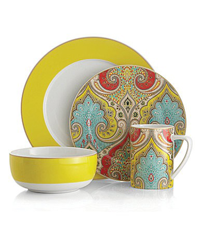 This India-inspired Latika Seafoam Dinnerware Pattern from Echo Design features a fun fresh color palette of turquoise blues with bright yellow ...  sc 1 st  Everything Turquoise & Echo Design Latika Yellow Dinnerware | Everything Turquoise