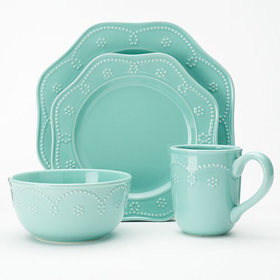 Fontinella Beaded 4 Pc Place Setting In Aqua Everything