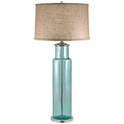 recycled aqua glass table lamp everything turquoise. Black Bedroom Furniture Sets. Home Design Ideas