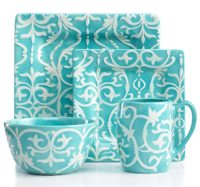 Mia textured teal 4 piece place setting everything turquoise for Cuisine turquoise