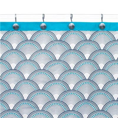 Jonathan Adler Shower Curtain Fishscales Navy Teal