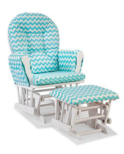 Chevron Hoop Custom Glider Chair & Ottoman Set