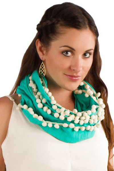 Turquoise Scarf With Cream Pom Poms