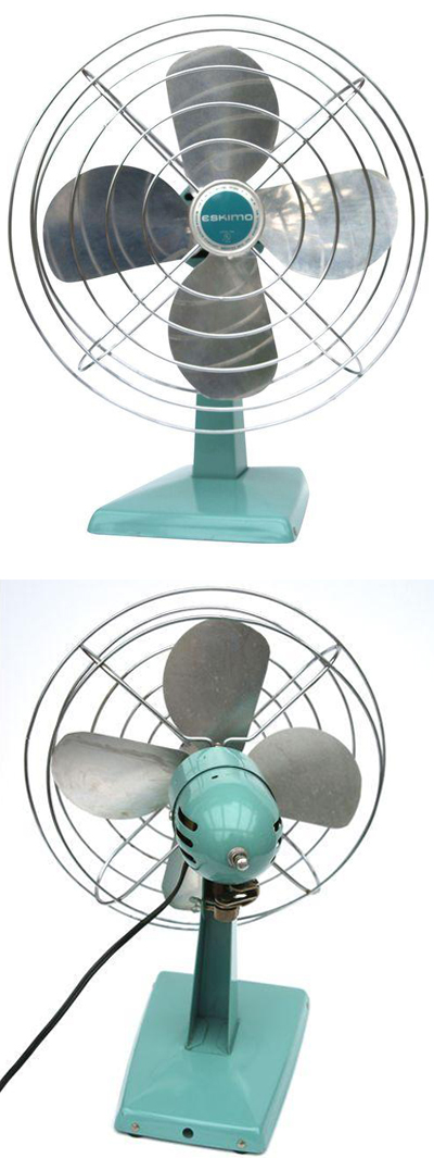 Vintage Turquoise Oscillating Fan