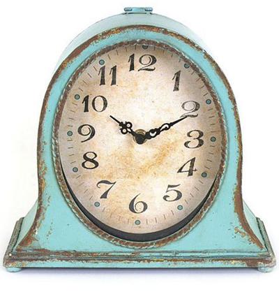 Aqua Rustic Metal Clock