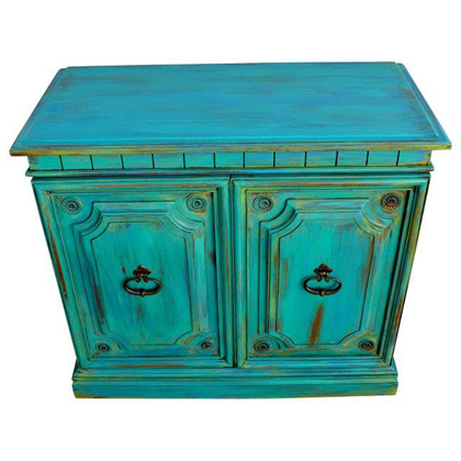 High Quality Turquoise Distressed Cabinet